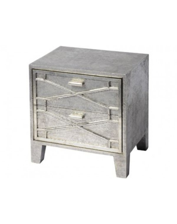 Libra Astro and Embossed Metal Two Drawer Bedside ...